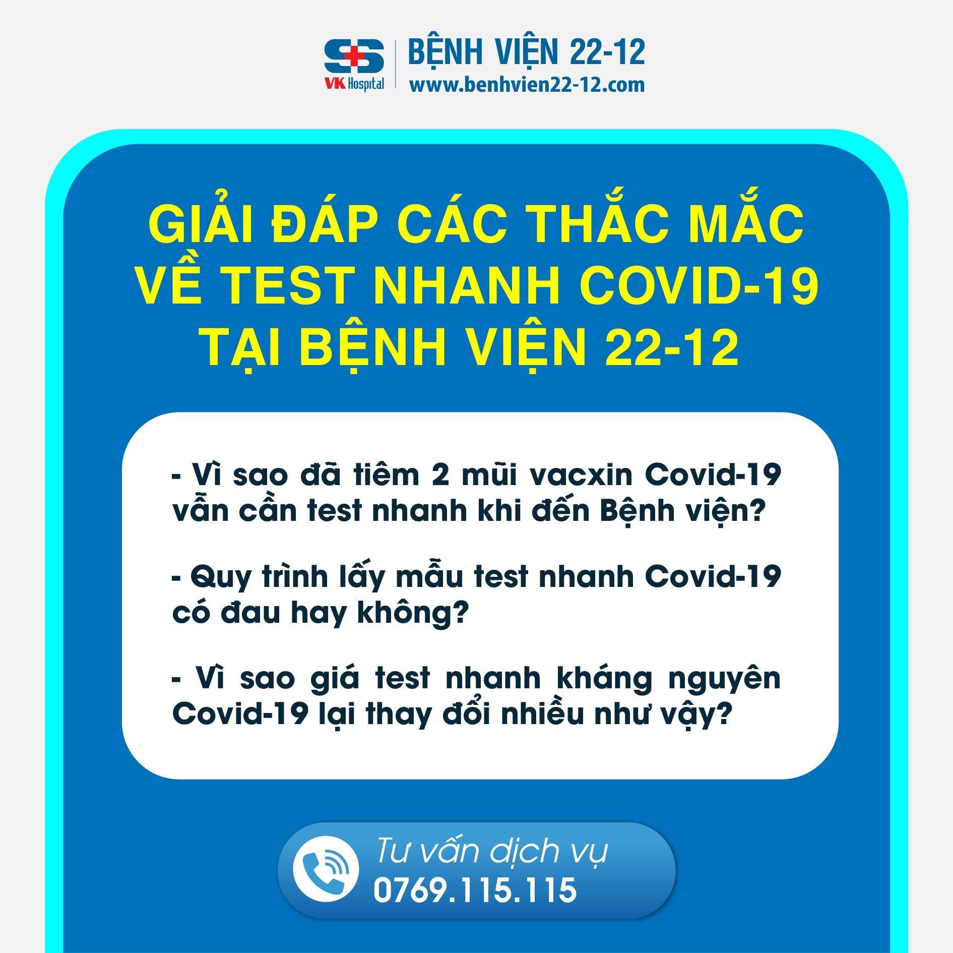 Bệnh viện 22-12   Quy định về test nhanh Covid
